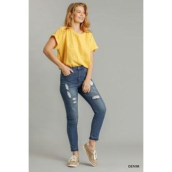 Umgee Stretchy Distressed Detail Skinny Jeans