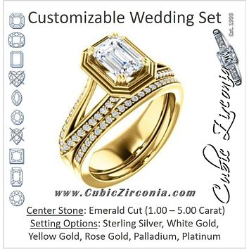 CZ Wedding Set, featuring The Reina engagement ring (Customizable Ridged-Bevel Surrounded Emerald Cut with 3-sided Split-Pavé Band)