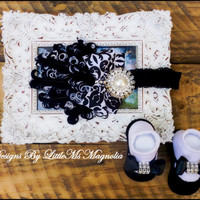 """Headband and  Sock Set, Black and White """" Lovely Little Missy"""" For Newborn To Baby Girls, Infant Photography"""