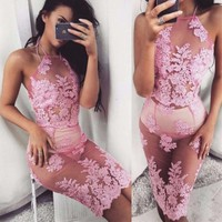 Embroidery Lace Halter Dress Set Two-Piece