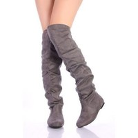 Nature Breeze Women`s Vickie-Hi Grey Sv Thigh High Flats Fashion Boots: Shoes