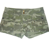 Green Camouflage Studded Shorts Juniors Clothing Size 9