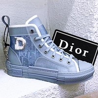 alwayn DIOR Dior B23 Oblique High Top Sneakers Lovers Shoes and boots jelly perspective Haze blue