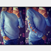 Long Sleeve Cut Out Knitted Sweater
