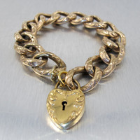Victorian Padlock Heart Bracelet, French Murat Curb Chain, Heavy Gold Charm Bracelet, 9ct Gold Monogrammed Heart Charm, Antique Jewelry