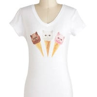 Cat I Have Another Scoop? Top | Mod Retro Vintage T-Shirts | ModCloth.com