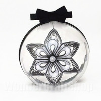 black and white christmas ornment, clear ornament, clear ball decoration, winter holiday decoration, keepsake ornament, xmas decor idea