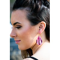 Pink Cork Earrings 1.5""