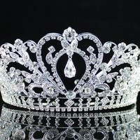 GORGEOUS CLEAR AUSTRIAN RHINESTONE CRYSTAL TIARA CROWN BRIDAL PROM PAGEANT H1339
