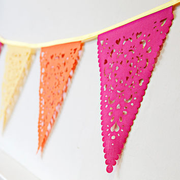 Party garland perfect for decorating bedroom or party, pink, orange and yellow brights!