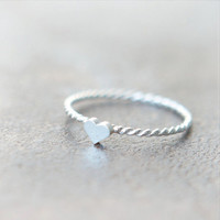 Tiny Heart Ring in sterling silver by laonato on Etsy