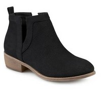Women's Journee Collection Lainee Round Toe Pinhole Faux Suede Bootiess