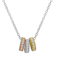 Amanda Rose Tri-tone Three Ring Pendant-Necklace in Sterling Silver on an 18 in. Chain