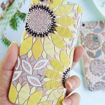 Yellow Sunflower iPhone X 8 7 7Plus & iPhone 6s 6 Plus Case Cover with Gift Box