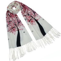 Cashmere Spring Butterfly Pink Blossom Tree Tassel Ends Long Scarf Shawl