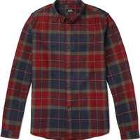 A.P.C. - Button-Down Collar Checked Wool-Blend Flannel Shirt   MR PORTER