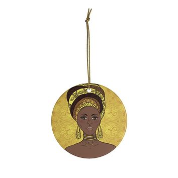 Yellow  Mama Africa Ceramic Ornaments