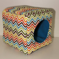 Hedgehog Cozy Cube, Reinforced Guinea Pig Hidey - Chevron with Turquoise Fleece
