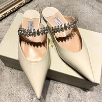 Jimmy Choo Women Princess Pointed Diamond Flat Shoes Slippers White