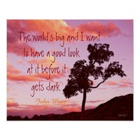nature Muir quote on sunset photograph wall art Posters