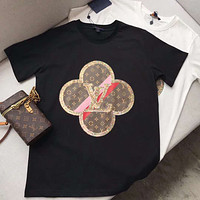 Louis Vuitton LV new short-sleeved presbyopia pattern fine sequin inlaid cotton loose T-shirt