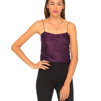 Motel Sunia Cami Top in Aubergine Tinsel
