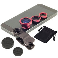 On sales 3 In1 Clip-on Mobile Phone Lens Camera kit for iPhone6 6s plus 5s for Samsung s6 edge plus Fish Eye Macro Wide Angle