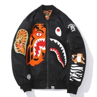 Bape Aape New fashion embroidery tiger shark long sleeve coat jacket Black