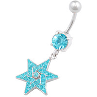 Star Of David Star Aquamarine Crystal Dangle Belly Button Ring For Girls [Gauge: 14G - 1.6mm / Length: 10mm] 316L Surgical Steel & Crystal