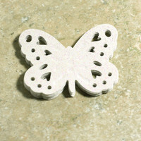 6 White Glitter Cardstock Butterfly is Embossed with Heart and Circle cut outs - 3d - 3 dimensional Butterflies - Craft Projects - Scrapbook