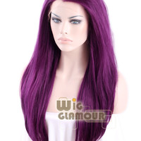 "Long Straight 24"" Dark Purple Lace Front Wig Heat Resistant"