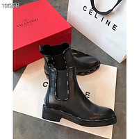 Valentino Women's men Leather Side Zip Lace-up Ankle Boots Shoes High Boots