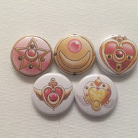 1 inch Sailor moon locket flat back buttons sale!