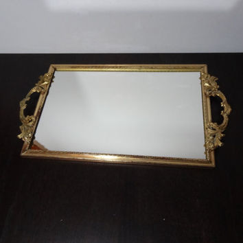 Vintage Ornate Brass or Gold Tone Metal Rectangular Mirrored Vanity/Dresser Tray with Ornate Handles - Hollywood Regency/Paris Apartment