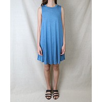 Basic Sleeveless Burnout Swingy Tank Dress in Heather Blue