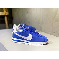 Nike Cortez Basic Nylon Fashion New Hook Print Women Men Running Shoes Blue