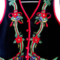 Ugly Christmas Sweater Vest Vintage Tacky Vest Black Red Poinsettia