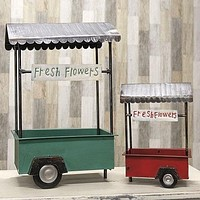 Set of 2 Vintage-Style Metal Flower Carts Planter Bins