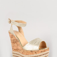 Liliana Metallic Snake Embossed Chain Platform Wedge Color: Gold, Size: 8