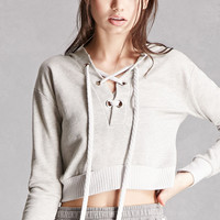 Cropped Lace-Up Hoodie