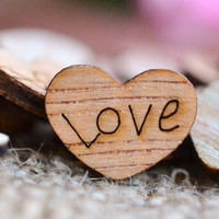 "150 ""Love"" Wood Hearts 3/8"" - Rustic Wedding Decor - Table Confetti - Wooden Hearts - Wedding Invitations"