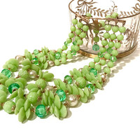 Triple Strand Bead Necklace  Green Molded Plastic  Iridescent Pearlized Beads  Gold Tone Filigree  Adjustable  Vintage 1950's West Germany