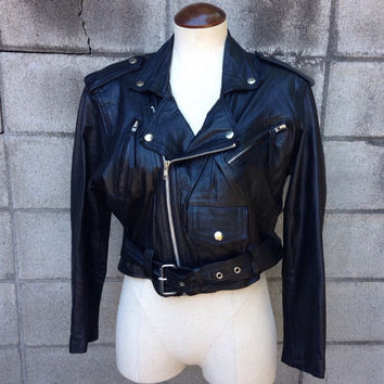 Motorcycle Leather Jacket Vintage 1980s Wilsons Cropped Women's size S