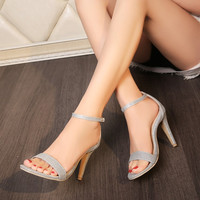 Ankle Straps Covered Heel Stiletto Heel Women Pumps Sandals 2804