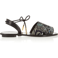 Maiyet | Desert printed silk-crepe and leather sandals | NET-A-PORTER.COM