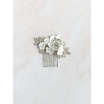 Silver clay rhinestone hair comb - style 7001 - ready to ship