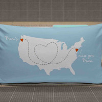 Mothers Day Gift Long Distance Map Pillow Cases rectangle pillow case, pillow cover, cute and awesome rectangle pillow covers