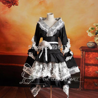 Free shipping Anime black Vocaloid cosplay Dress Loro Rita maid outfit Halloween costume for women for party for christmas