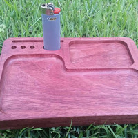 Herbal rolling tray 8 1/4 x 5 3/4 South American Purple heart wood exotic