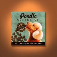 Poodle Coffee Co. - 12X12 Modern Vintage Giclee Print - Mixed Media - LHA-295-38